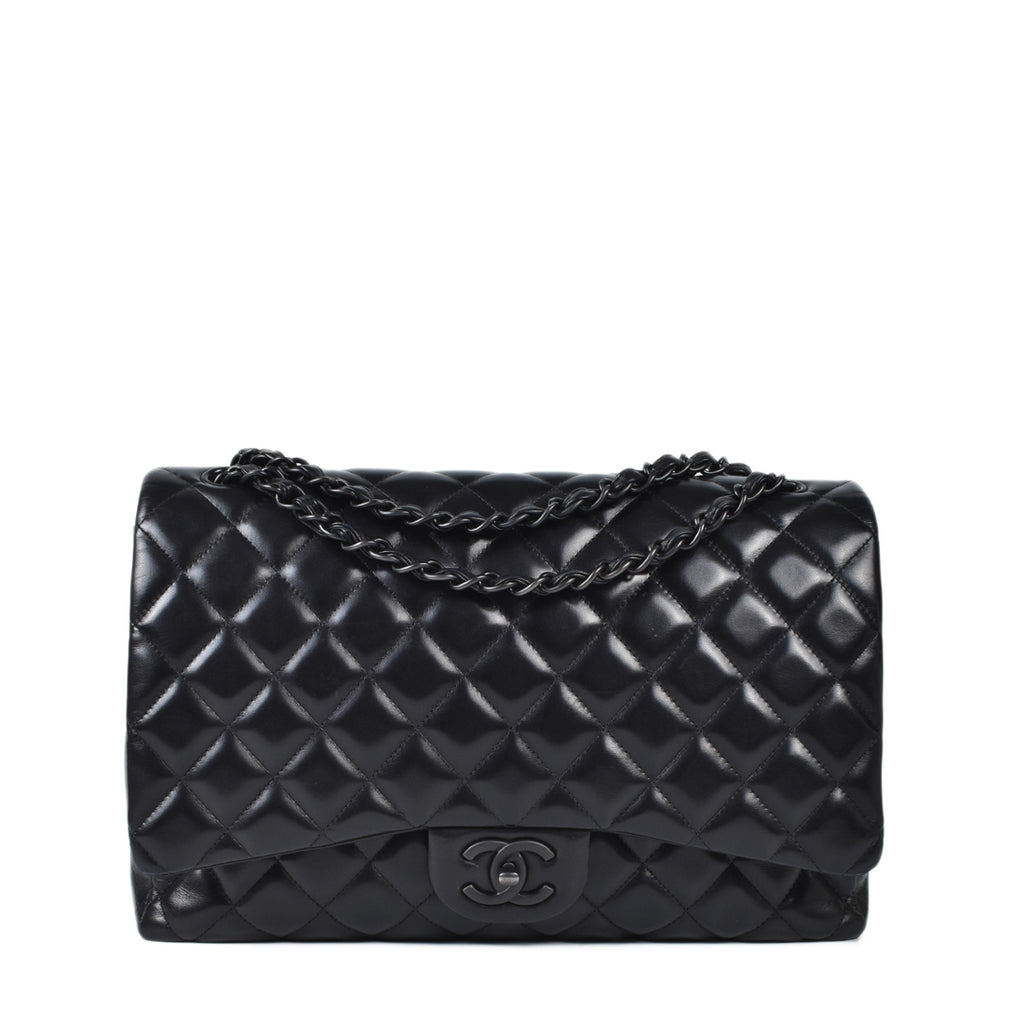 Chanel So Black Lambskin Quilted Maxi Double Flap Bag