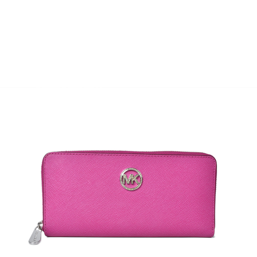 Michael Kors Jet Set Saffiano Fuchsia Zip Around Wallet
