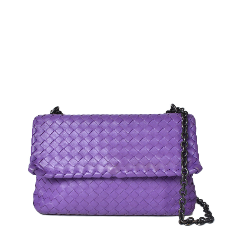 Bottega Veneta Purple Intrecciato Small Olimpia Chain Bag