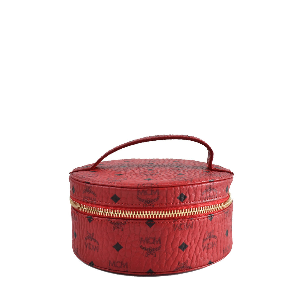 MCM Visetos Vanity Cosmetic Case Red