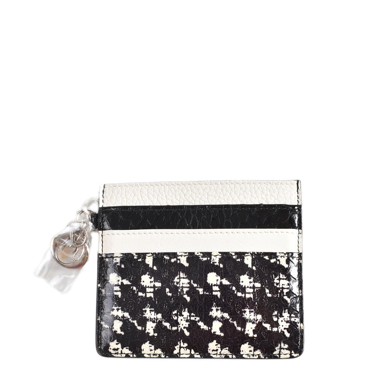 Christian Dior Monochrome Abstract Printed Leather Card Holder