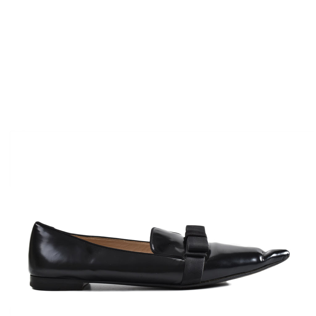 Prada Calzature Donna Pointed Toe Bow Loafers