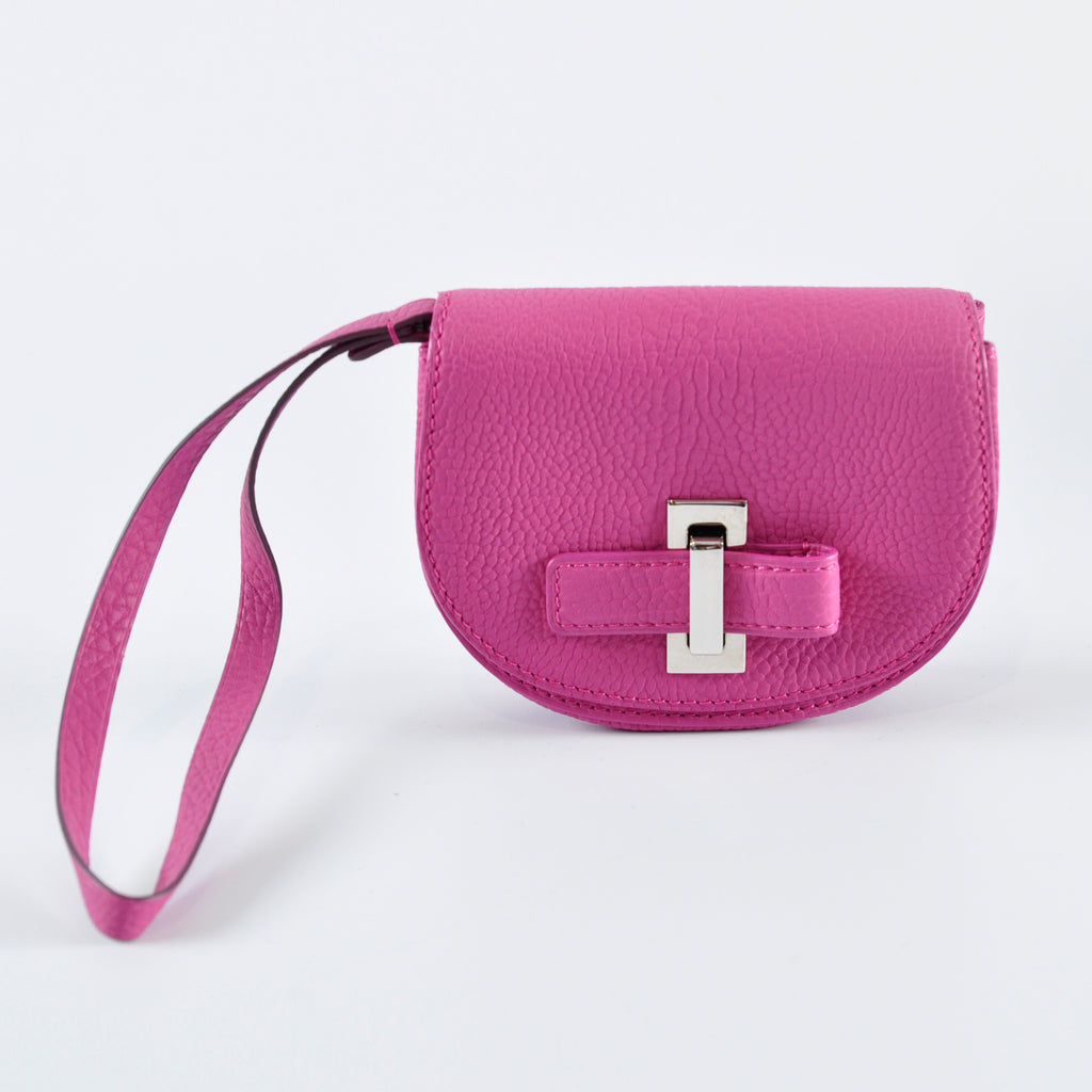 Le Mutin Pebbled Leather Wristlet in Pink