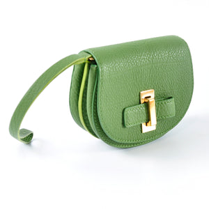 Le Mutin Pebbled Leather Wristlet in Olive Green