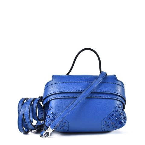 Tod's Wave Charm Micro Leather Shoulder Bag in Electric Blue
