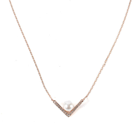 Swarovski Rose Gold with Pearl Accent Necklace