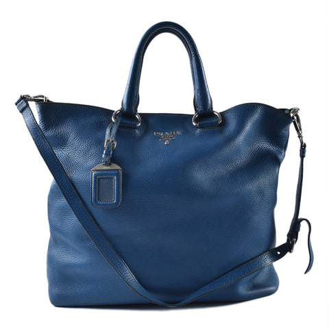 Prada Calf Leather Blue Tote Bag SHW