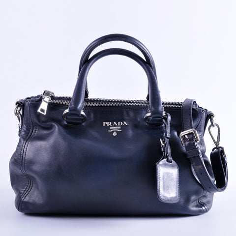 Prada Soft Calf Leather Double Zip Satchel in Black SHW
