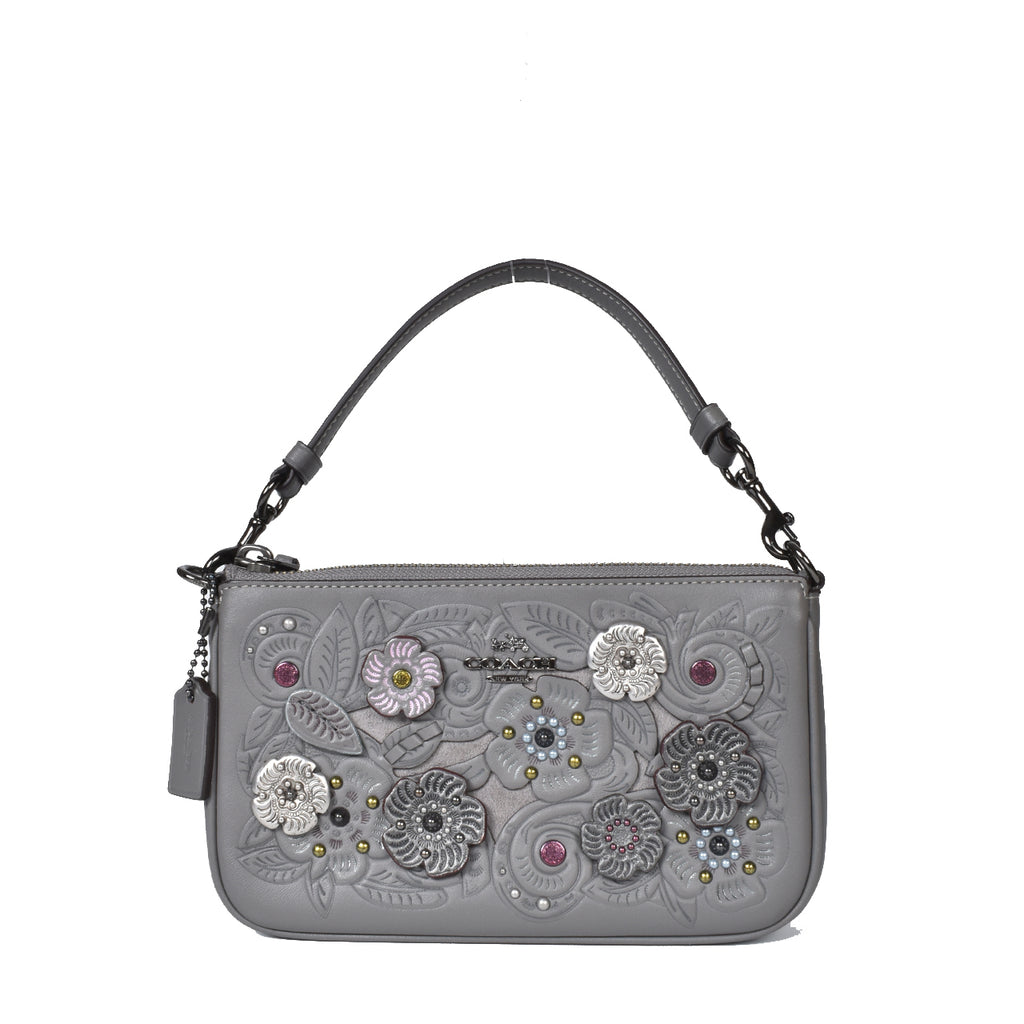 Coach Nolita Wristlet Grey Clutch Bag with Embroidered Flower G1781-24957
