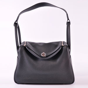 Hermès Lindy 30 Taurillon Clemence 89 Noir PHW - Stamp X