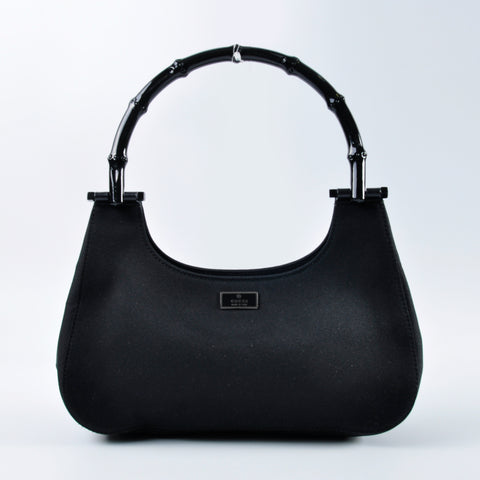 9122cfbf1132d Gucci Black Nylon Bamboo Handle Shoulder Bag – Glampot