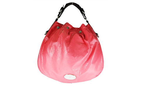 Mulberry Creased Patent Leather Mitzy Hobo in Coral