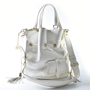 Lancel Large White Mock Croc Bucket Bag