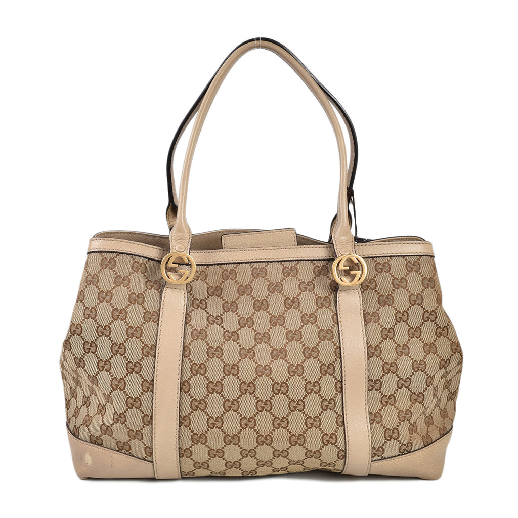 Gucci GG Supreme Monogram Beige Canvas Tote