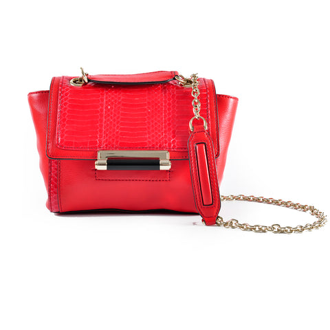 DVF Red Snakeskin Shoulder Bag with Chain