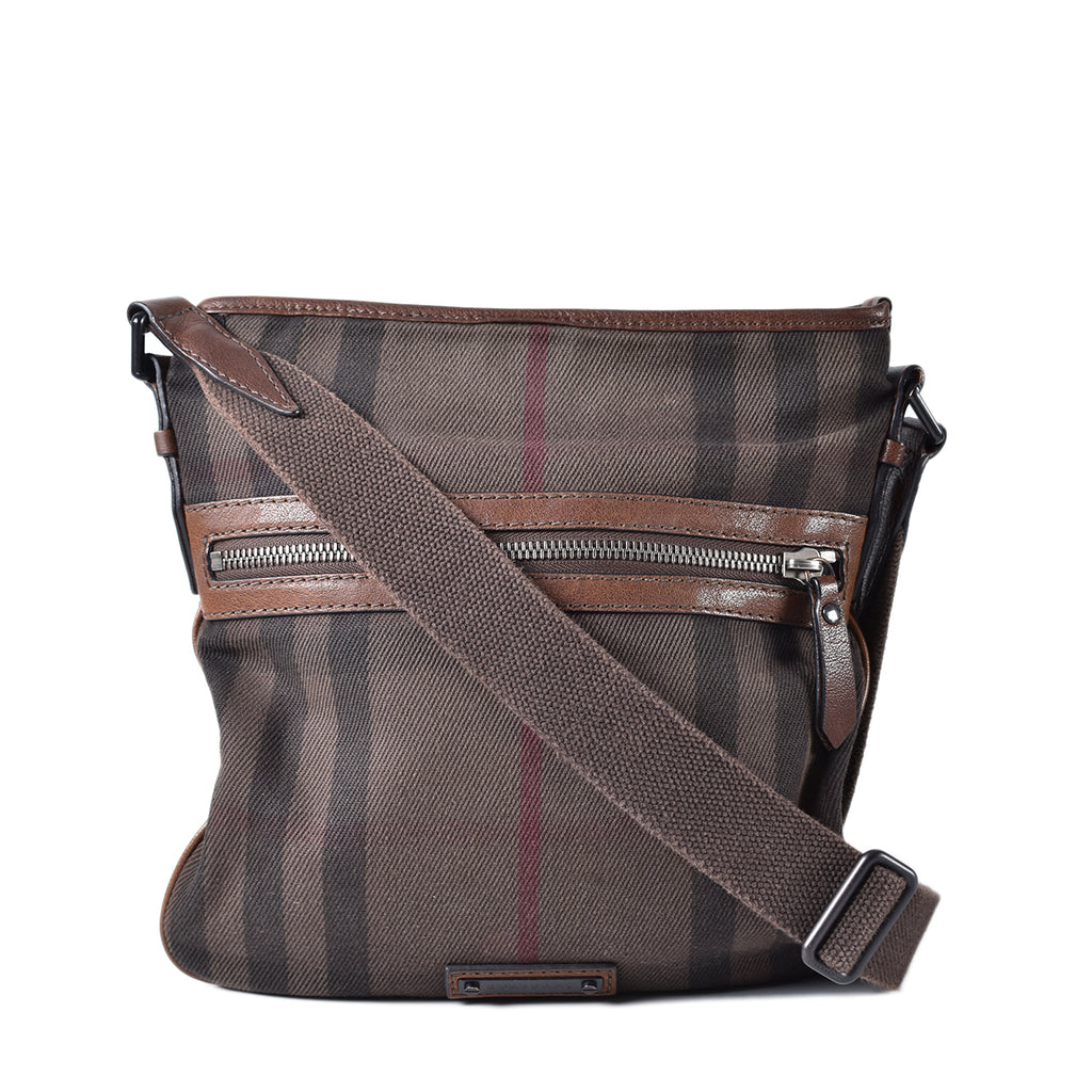 Burberry Canvas House Check Flat Crossbody Messenger Bag Dark Brown