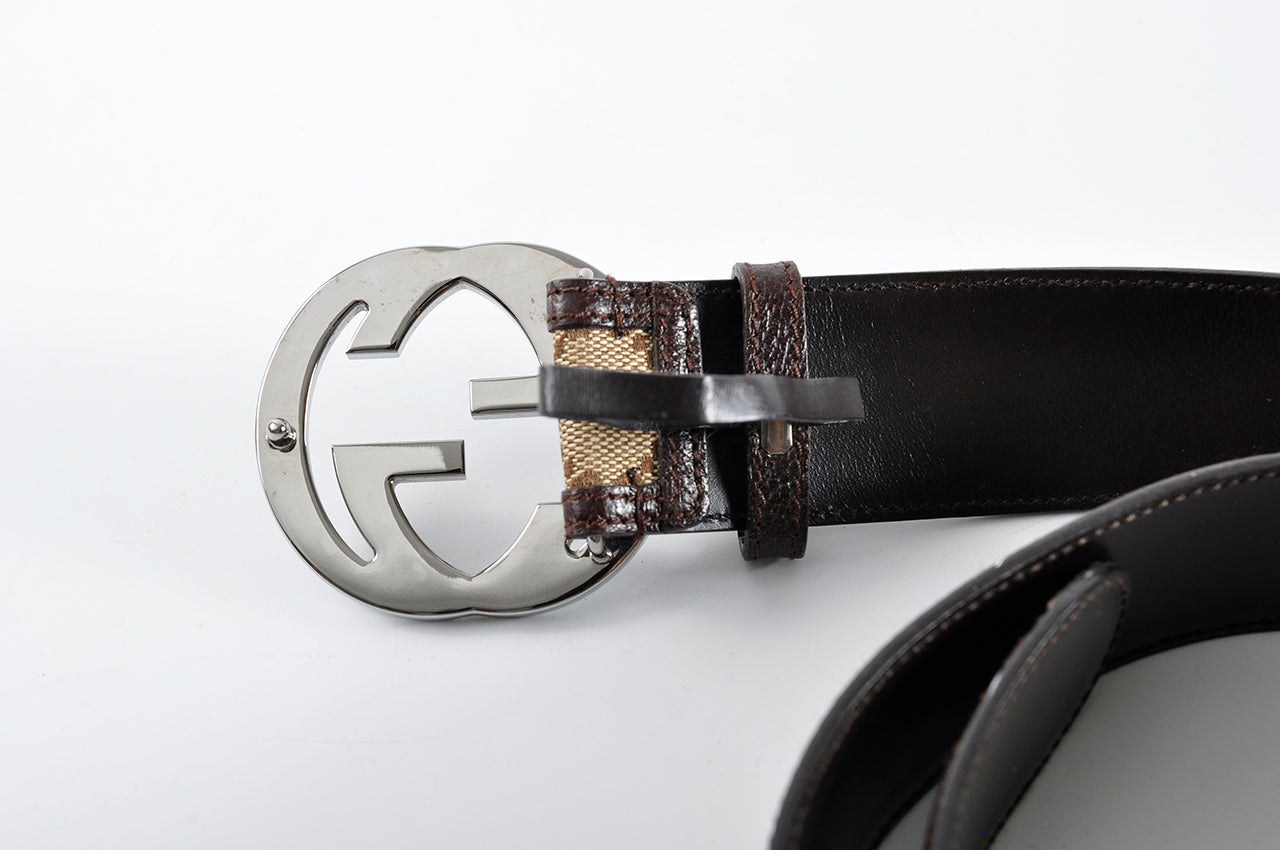 "Gucci Beige / Ebony Signature ""GG"" Canvas Interlocking G Buckle Belt 114876 1476 - Size 90"