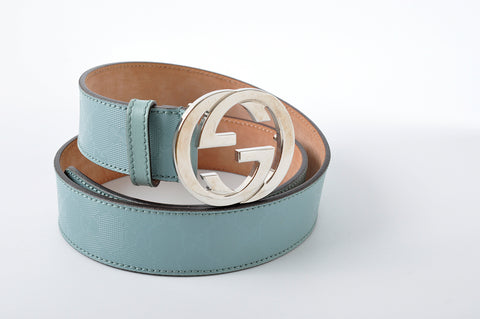 Gucci Imprime GG Canvas Belt Interlocking G Buckle in Blue 114876.1476 - Size 90