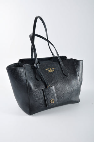 Gucci 354408 Swing Small Leather Tote in Black