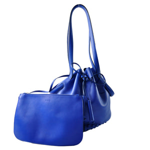 Tod's Electric Blue Mini Gommini Leather Bucket Bag