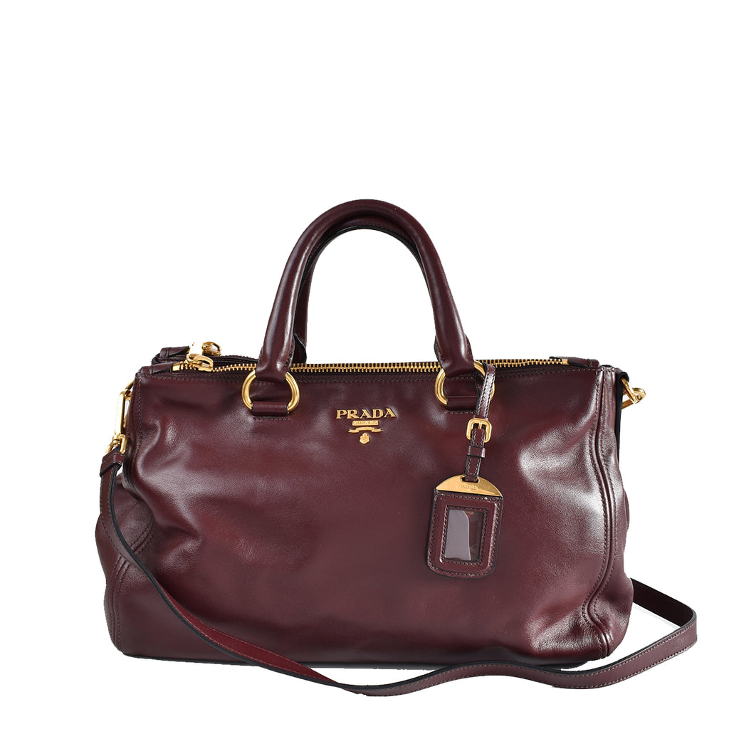 Prada BN2324 Granato Vitello Shine Leather East/West Satchel Bag