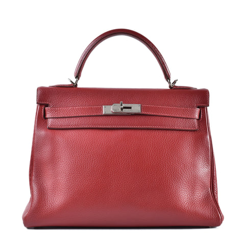 Hermes Kelly 32 Rouge Garance PHW- Stamp F
