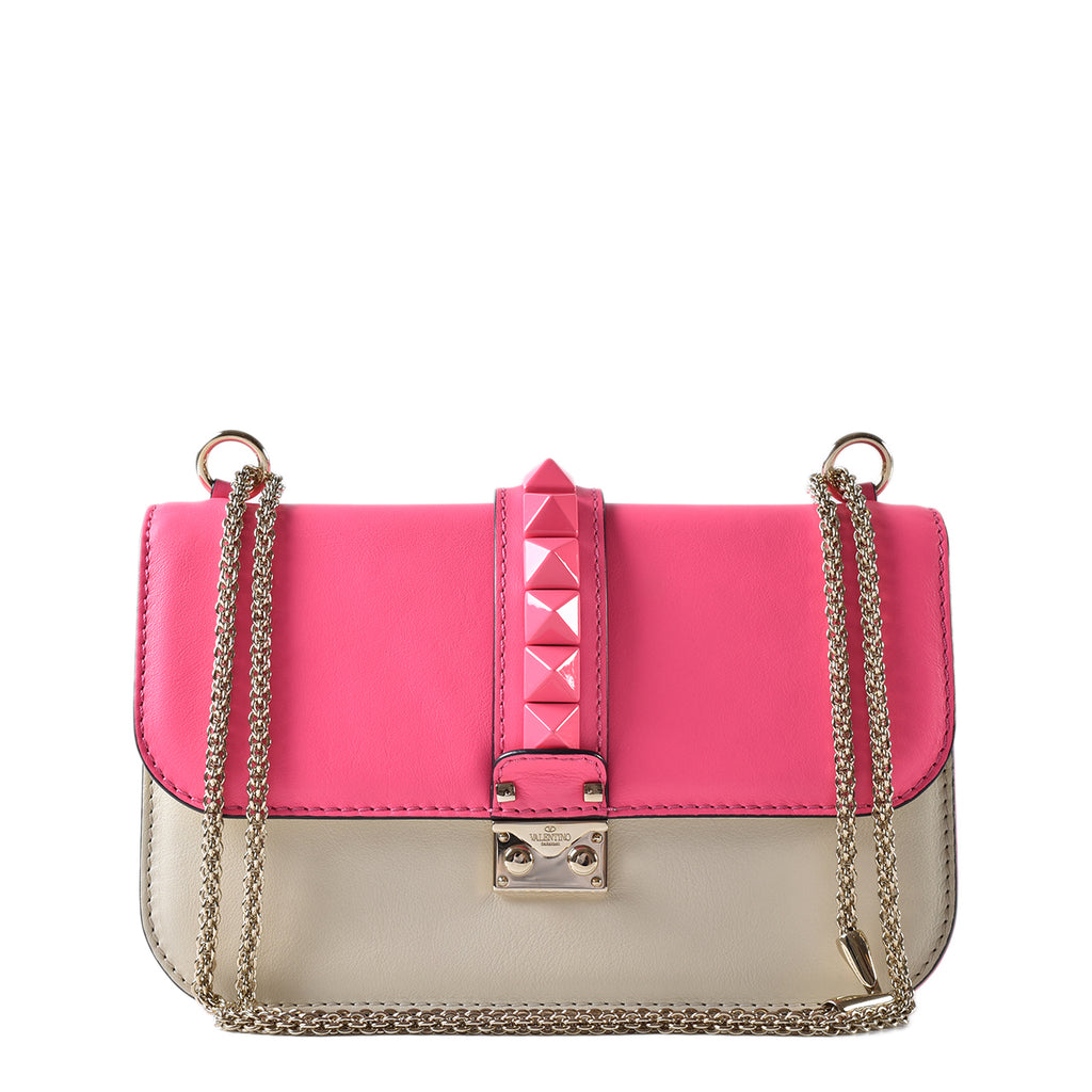 Valentino Neon Pink/White Leather Rockstud Glam Lock Medium Flap Bag