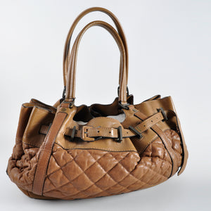 Burberry Quilted Brown Leather Shoulder Bag - Glampot