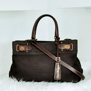 Brown Leather 2 Way Belted Satchel AB-21 C464
