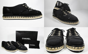Black Oxford GG/Lambskin Trim Lace-Ups Shoe