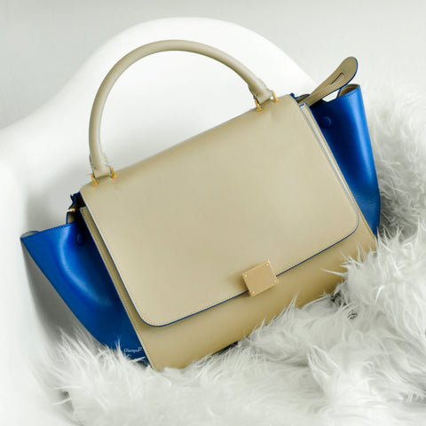 Celine Medium Trapeze Bi-Color Nude / Blue Smooth Calfskin W-CU-0174 - Glampot