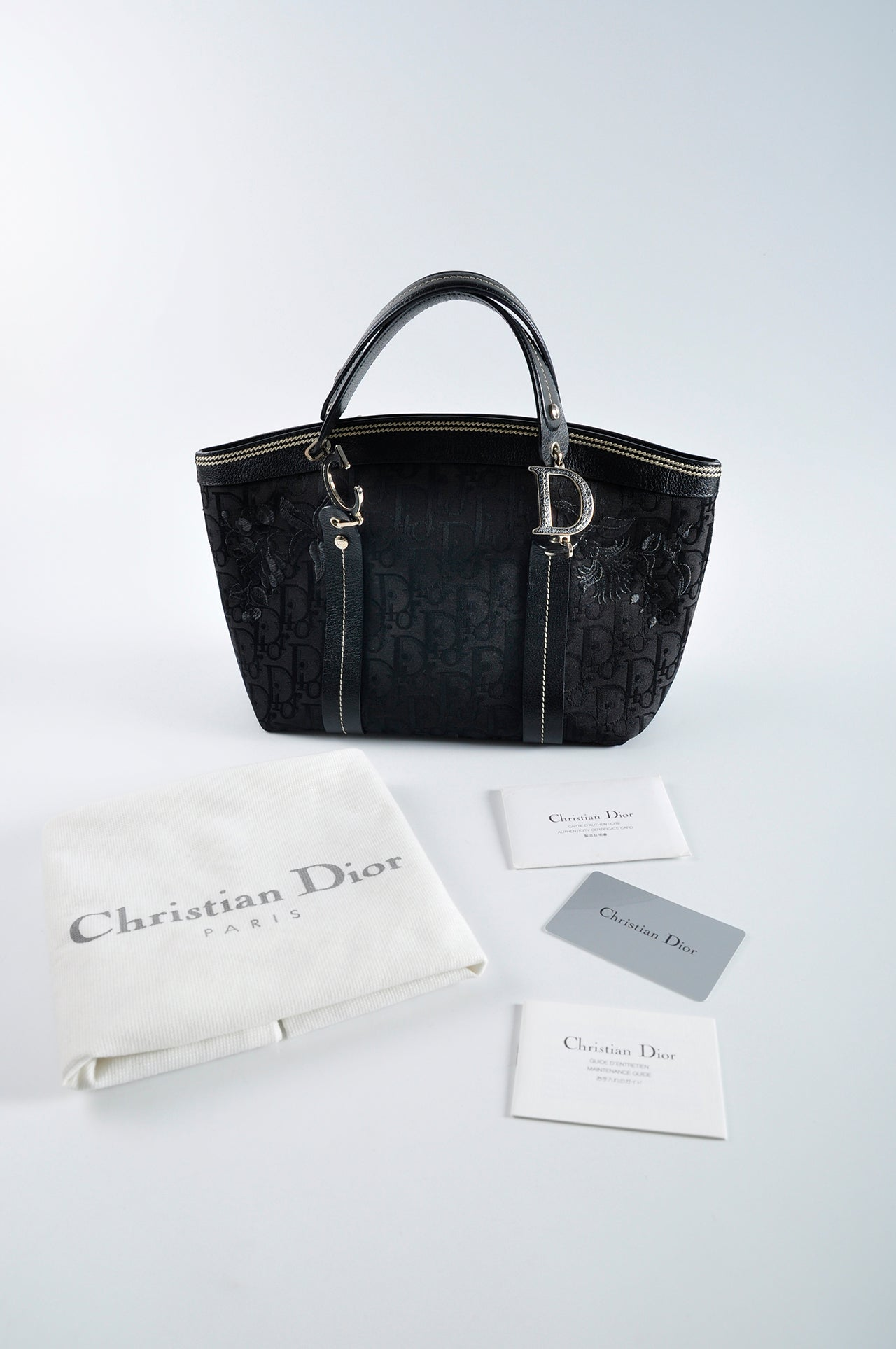 Christian Dior Monogram Canvas Logo Black Top Handle Bag 07-BO-0045 - Glampot