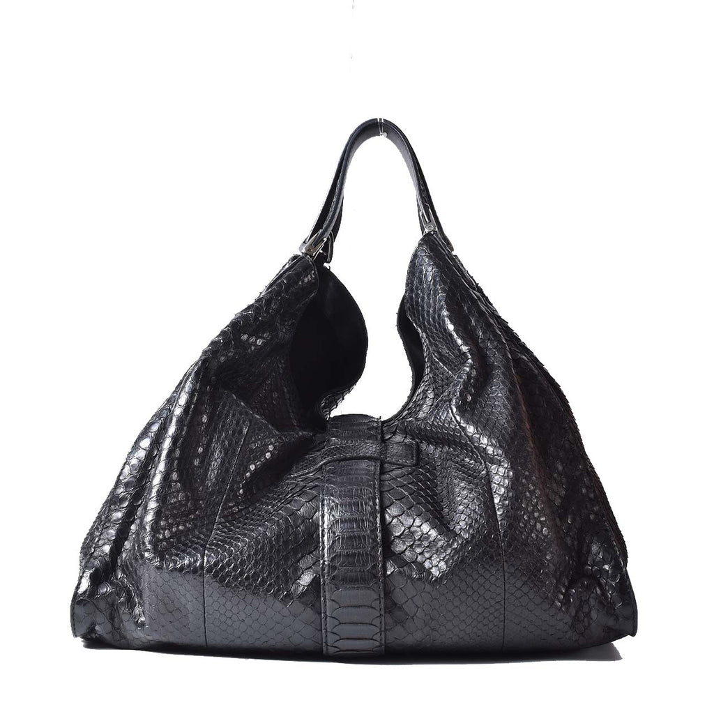 Gucci Black Python Leather Stirrup Top Handle Hobo Bag