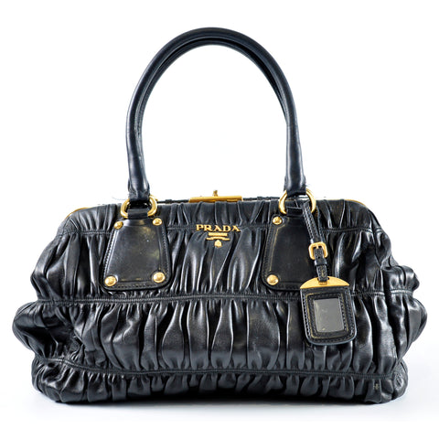 Prada BN1637 Black Gaufre Nappa Leather Dressy Frame Top Bag