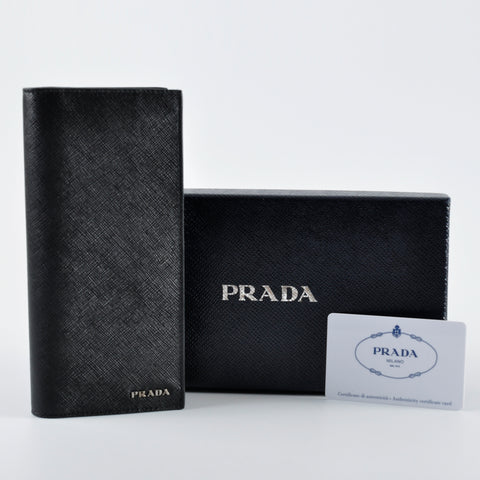 f406252131f4 Prada 2MV836 Men s Saffiano Leather Bi-Colour Bifold Long Vertical Wallet  with Logo- Black