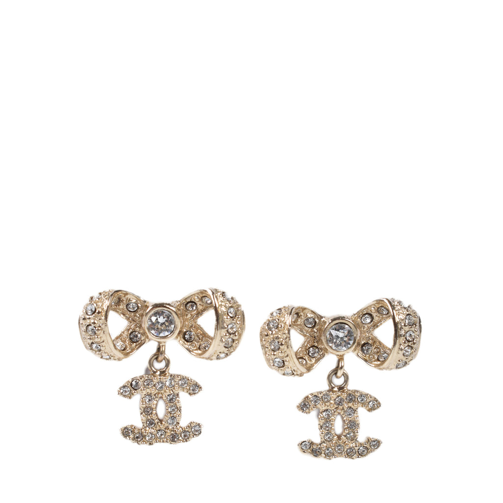 Chanel Coco Mark Earrings Ribbon Rhinestone