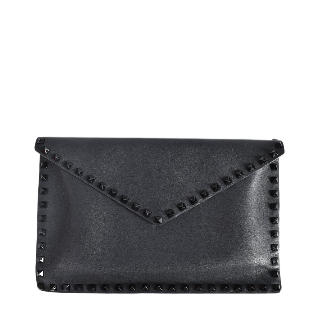 Valentino Rockstud Leather Pouch in Black