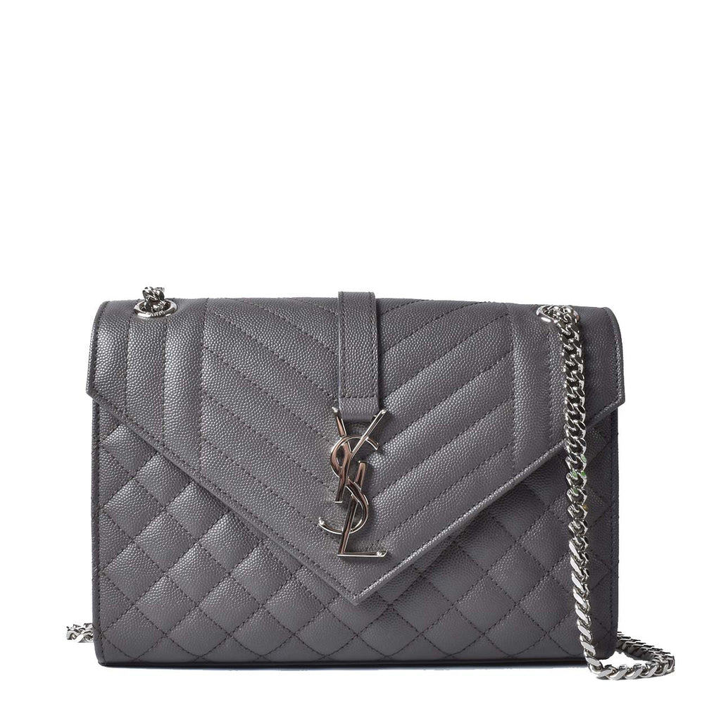 Saint Laurent Small Grey Envelope Crossbody bag SHW
