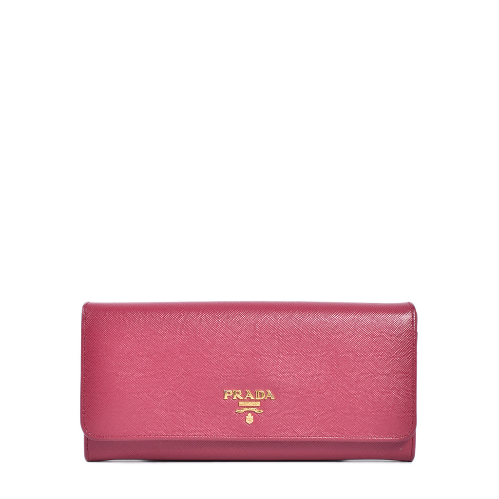 Prada Dark Pink Saffiano Metal Leather Long Continental Wallet