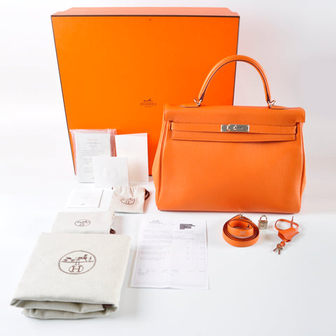 Hermès Kelly II Retourne 35 Togo in Orange PHW - Stamp [Q] -30