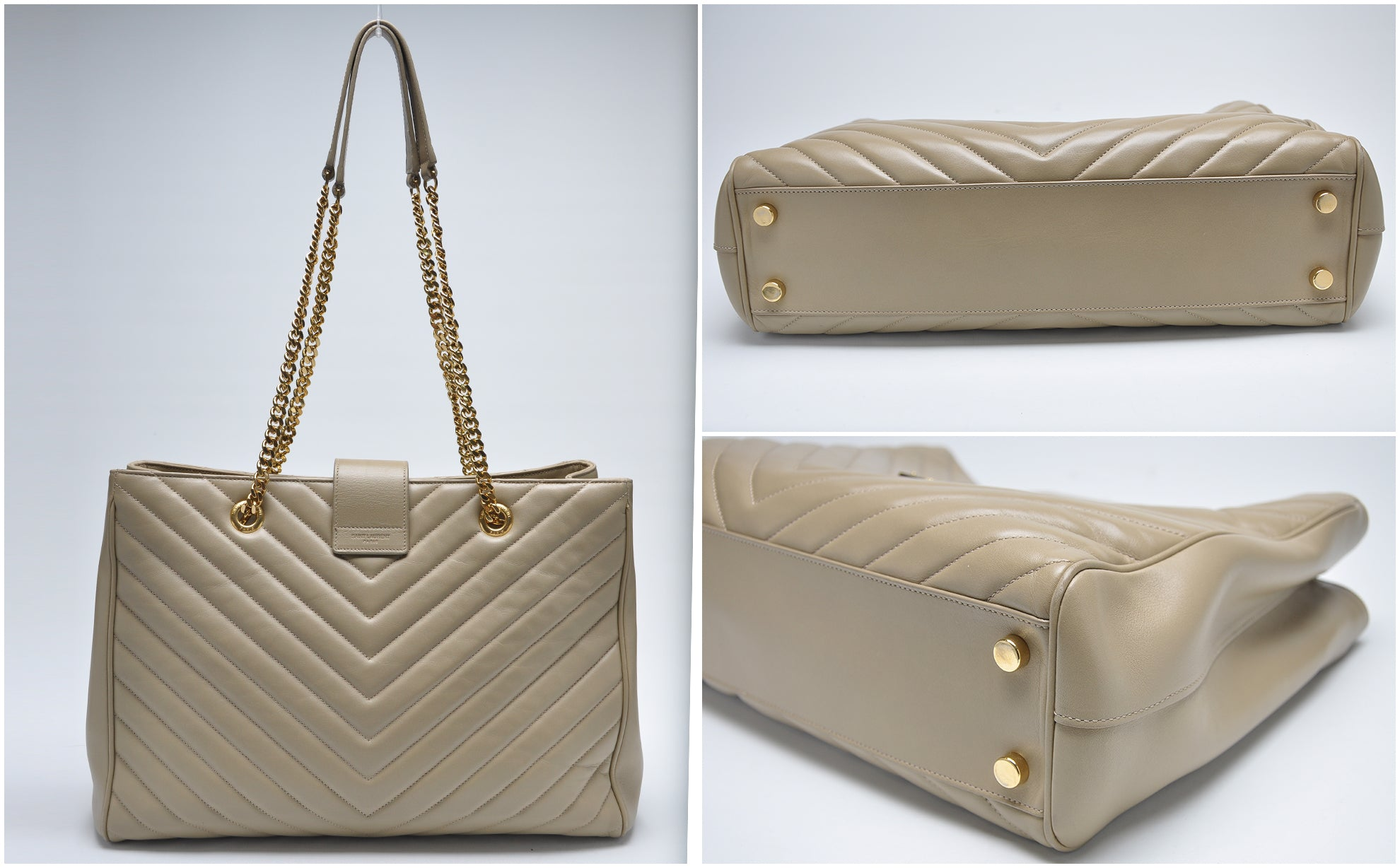 Chevron Tote Bag in Beige / Gold Hardware - Glampot
