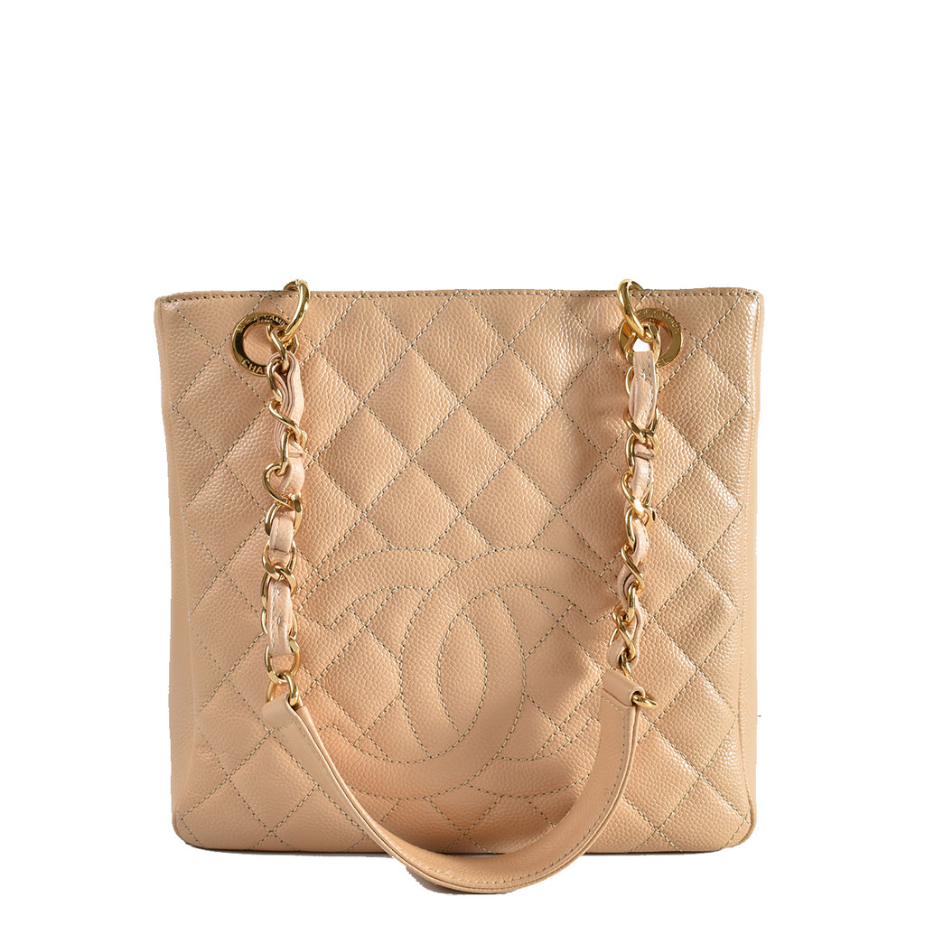 Chanel Beige Caviar Leather Petite Shopping Tote Bag