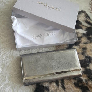 Jimmy Choo Maia Clutch in Vintage Silver Etched Metallic Spazzolato D2V4B9