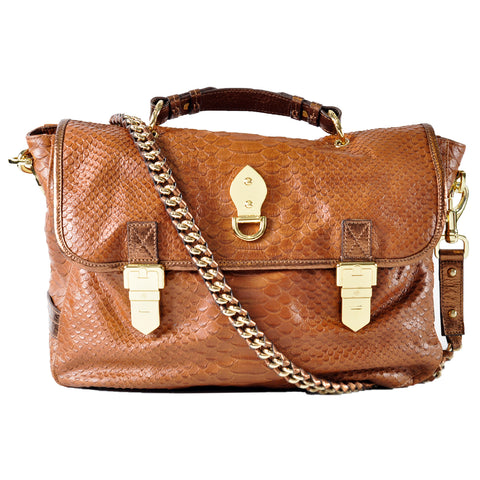 Oversized Tillie Satchel in Oak Silky Snake with Bronze Metallic Trims