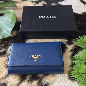 Prada 1M1404 Saffiano Long Trifold Wallet in Bluette