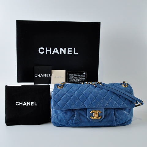 24203b65aa53 Chanel Blue Quilted Iridescent Calfskin Leather Chic Quilt Medium Flap Bag  5367-1 - Glampot