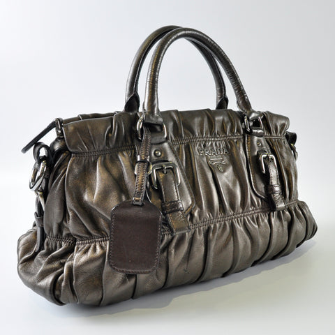 Bronze Nappa Leather Gaufre Tote Bag - Glampot