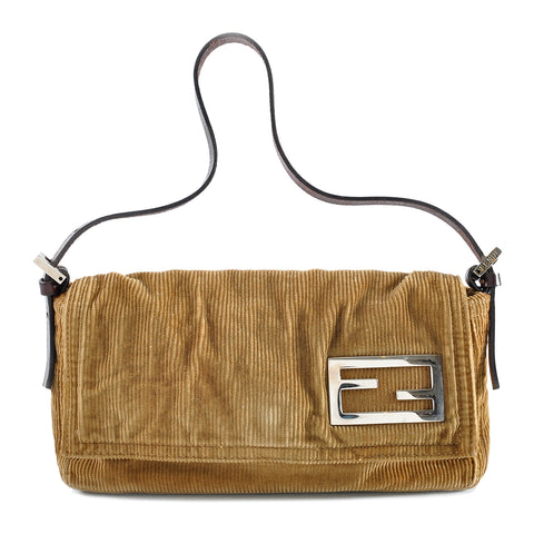 Fendi Small Leather-Trimmed Corduroy Shoulder Bag 2262-26776-009