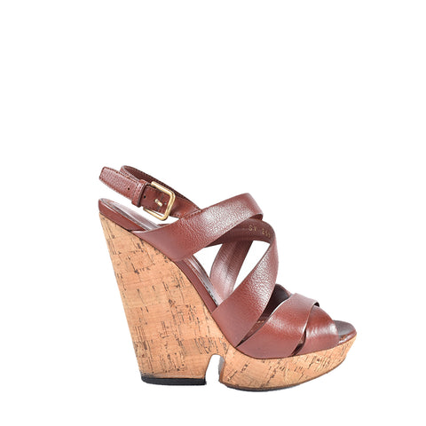 Yves Saint Laurent Brown/Rust Leather Wedge - Size 36 1/2
