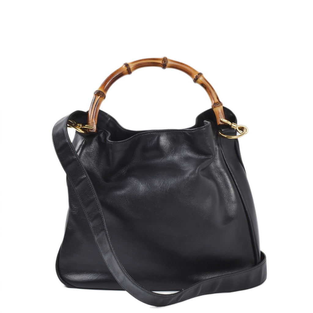 Gucci Vintage Black Leather Bamboo 2-Way Bag